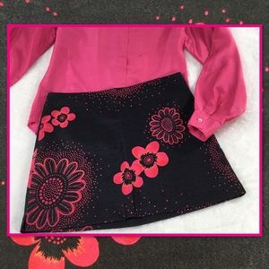 EXPRESS SKIRT BLUE DENIM WITH PINK FLOWERS 5/6